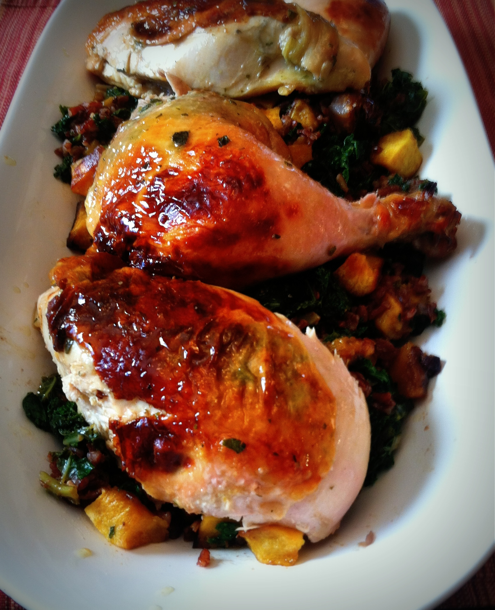 Cider-Brined Chicken With Red Rice, Acorn Squash, Kale