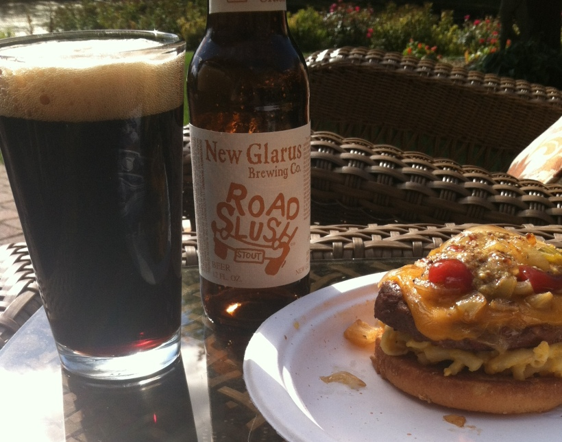 Mac-n-cheeseburger enjoyed with a Road Slush Stout from the fine folks at New Glarus Brewing.